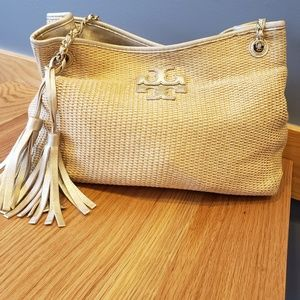 Tory burch gold and straw like tote